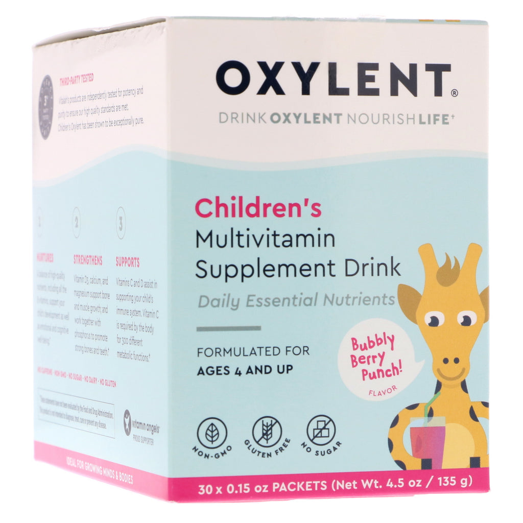 Vitalah, Children's Oxylent, Multivitamin Supplement Drink, Bubbly Berry Punch, 30 Packets, 0.15 oz (4.5 g) Each