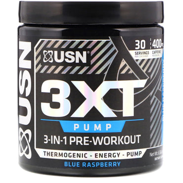 USN, 3XT- Pump, 3-In-1 Pre-Workout, Blue Raspberry, 6.56 oz (186 g)