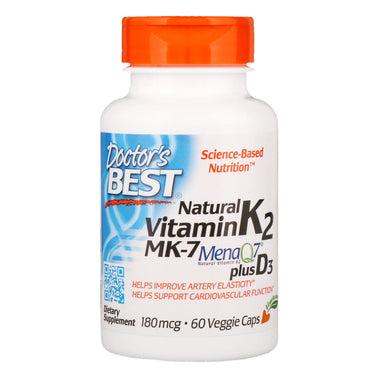 Doctor's Best, Natural Vitamin K2 Plus D3 with MK-7, 180 mcg, 60 Veggie Caps