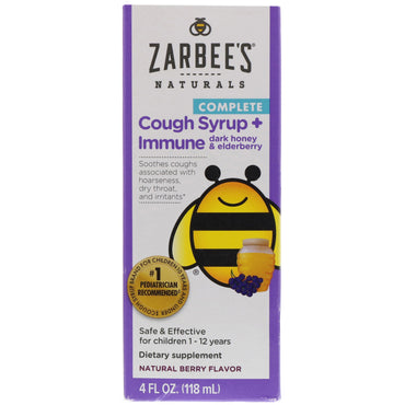 Zarbee's Children's Complete Cough Syrup + Immune with Dark Honey & Elderberry Natural Berry Flavor 4 fl oz (118 ml)