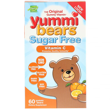 Hero Nutritional Products, Yummi Bears, Vitamin C, Sugar Free, All Natural Fruit Flavors, 60 Gummy Bears
