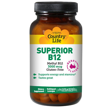 Country Life, Superior B12, Berry Flavor, 3000 mcg, 50 Sublingual Lozenges