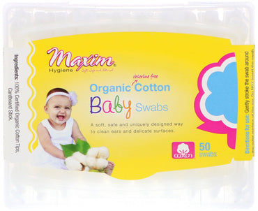 Maxim Hygiene Products, Organic Cotton Baby Swabs, 50 Swabs