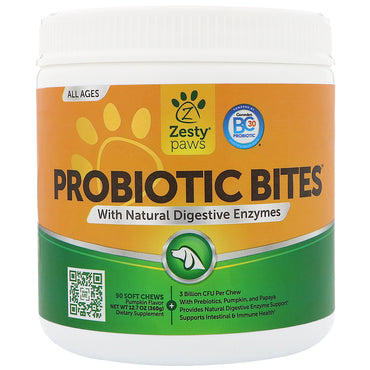 Zesty Paws, Probiotic Bites for Dogs, with Natural Digestive Enzymes, Pumpkin Flavor, 90 Soft Chews