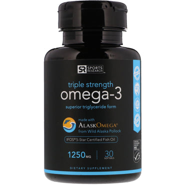 Sports Research, Triple Strength Omega-3, 1250 mg, 30 Softgels