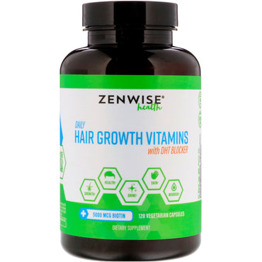 Zenwise Health Daily Hair Growth Vitamins with DHT Blocker 120 Vegetarian Capsules