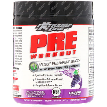 Bluebonnet Nutrition, Extreme Edge, Pre Workout, Muscle Recharging Stack, Grape Flavor, 0.66 lbs (300 g)