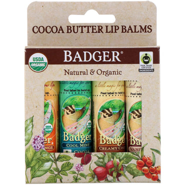 Badger Company Organic Cocoa Butter Lip Balms Set 4 Pack .25 oz (7 g) Each