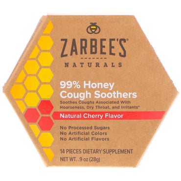 Zarbee's, 99% Honey Cough Soothers, Natural Cherry Flavor, 14 Pieces