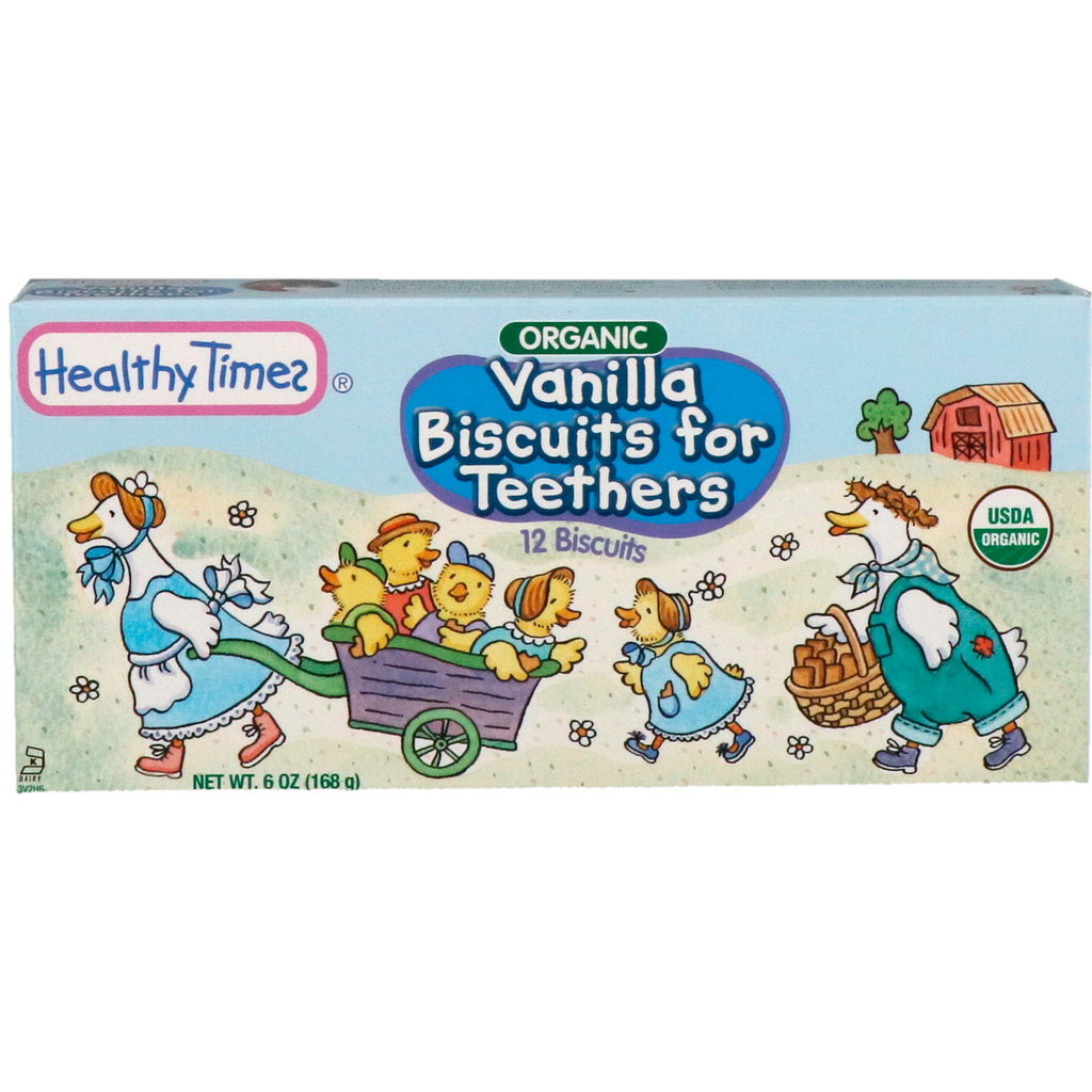 Healthy Times, Organic, Vanilla Biscuits for Teethers, 12 Biscuits, 6 oz (168 g)