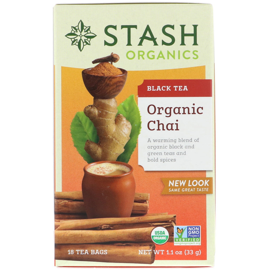 Stash Tea, Black Tea, Organic Chai, 18 Tea Bags, 1.1 oz (33 g)