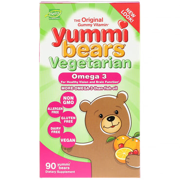 Hero Nutritional Products, Yummi Bears, Vegetarian, Omega 3 , 90 Yummi Bears