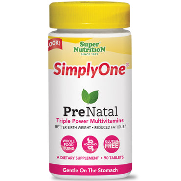 Super Nutrition, SimplyOne, PreNatal, Triple Power Multivitamins, 90 Tablets