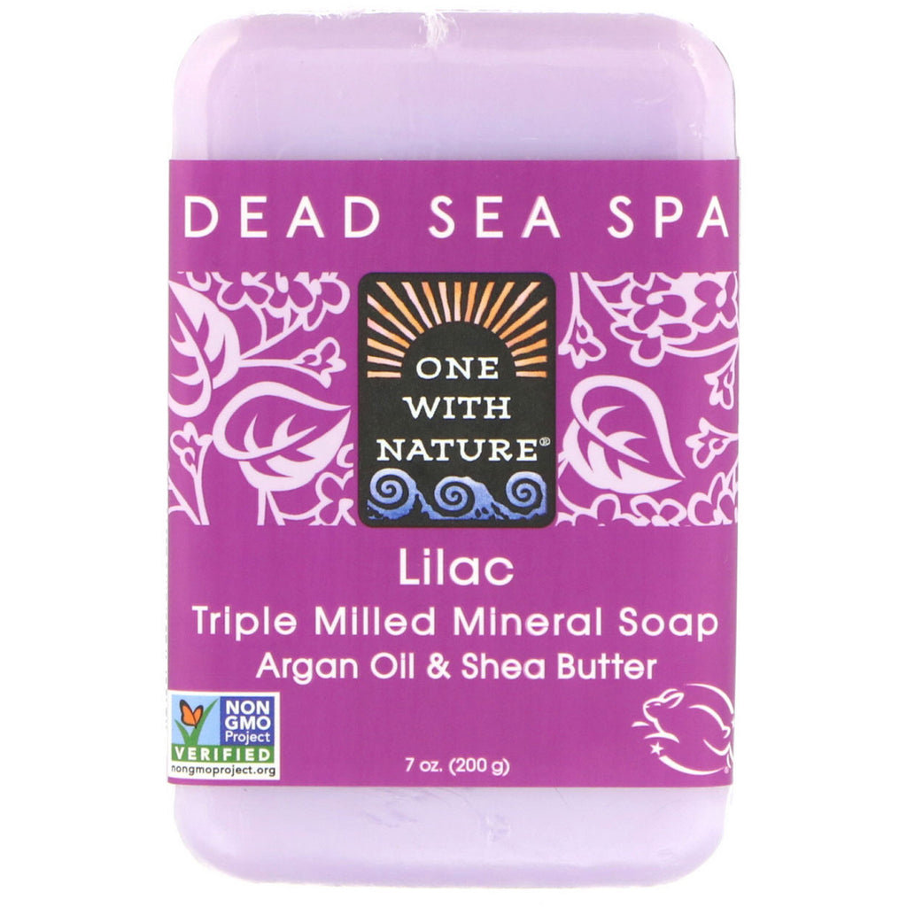 One with Nature, Triple Milled Soap Bar, Lilac, 7 oz (200 g)