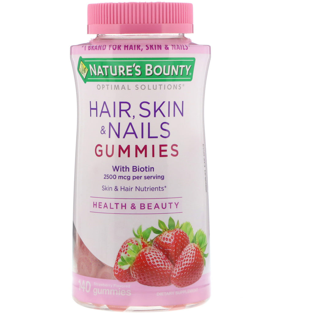 Nature's Bounty, Optimal Solutions, Hair, Skin, & Nails, Strawberry Flavored, 2500 mcg, 140 Gummies