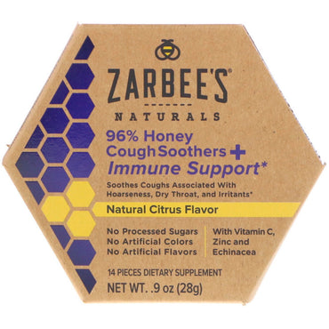 Zarbee's 96% Honey Cough Soothers + Immune Support Natural Citrus Flavor 14 Pieces
