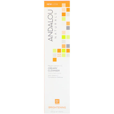 Andalou Naturals, Creamy Cleanser, Meyer Lemon + C, Brightening, 6 fl oz (178 ml)