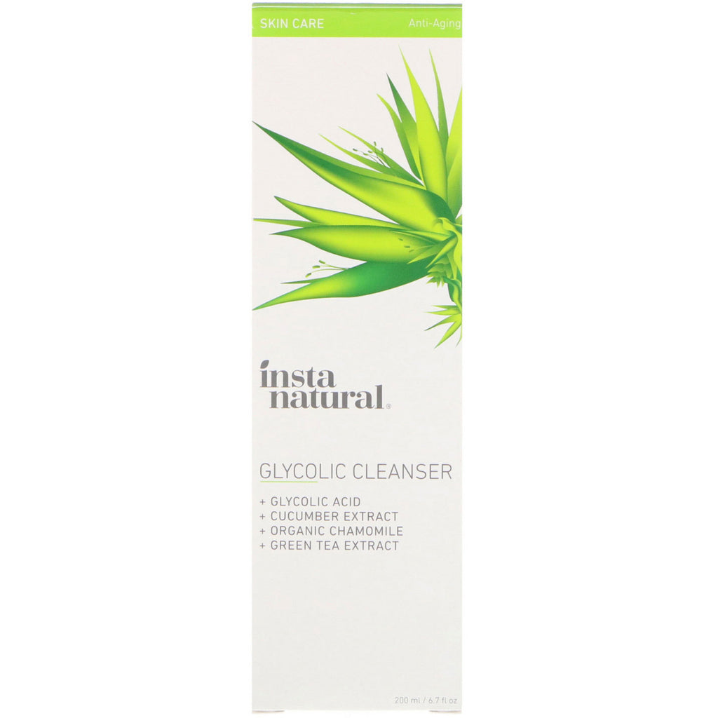 InstaNatural, Glycolic Acid Exfoliating Face Wash, Gel Cleanser for Acne & Oily Skin, 6.7 fl oz (200 ml)