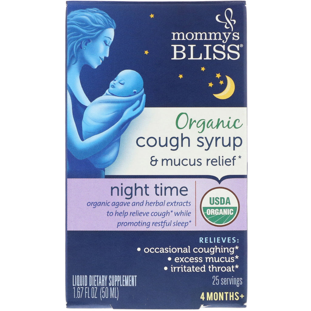Mommy's Bliss Organic Cough Syrup & Mucus Relief Night Time 4 Months + 1.67 fl oz (50 ml)