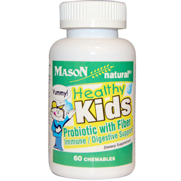 Mason Natural, Healthy Kids Probiotic With Fiber, 60 Chewables