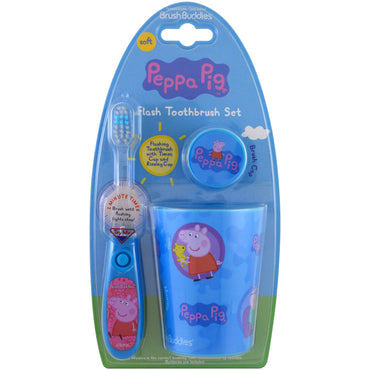 Brush Buddies, Peppa Pig, Flash Toothbrush Set, Soft, 3 Piece Kit