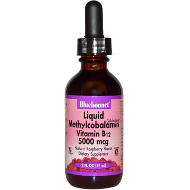 Bluebonnet Nutrition, Liquid Methylcobalamin Vitamin B12, Natural Raspberry Flavor, 5000 mcg, 2 fl oz (59 ml)