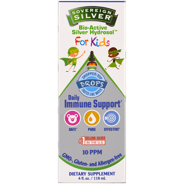 Sovereign Silver, Bio-Active Silver Hydrosol, For Kids, Daily Immune Support Drops, 4 fl oz (118 ml)