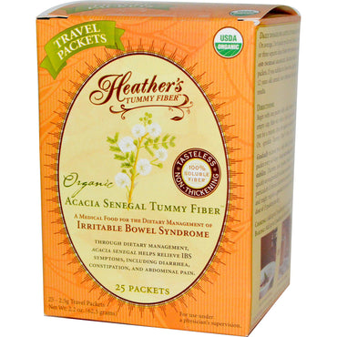 Heather's Tummy Care, Organic Acacia Senegal Tummy Fiber, 25 Travel Packets, 2.5 g Each