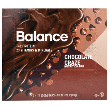 Balance Bar Nutrition Bar Chocolate Craze 6 Bars 1.76 oz (50 g) Each
