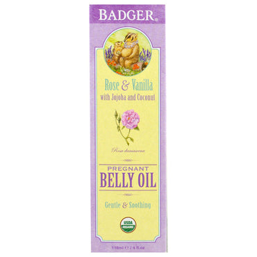 Badger Company Organic Pregnant Belly Oil Rose & Vanilla 4 fl oz (118 ml)