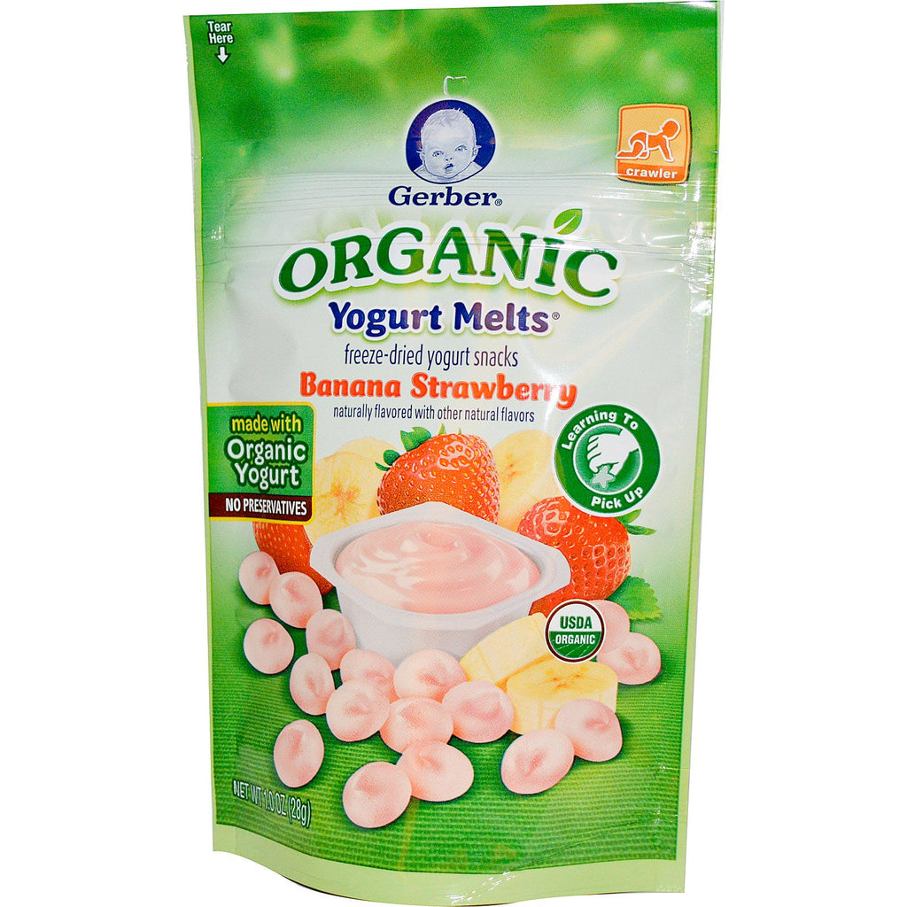 Gerber Organic Yogurt Melts Banana Strawberry 1.0 oz (28 g)