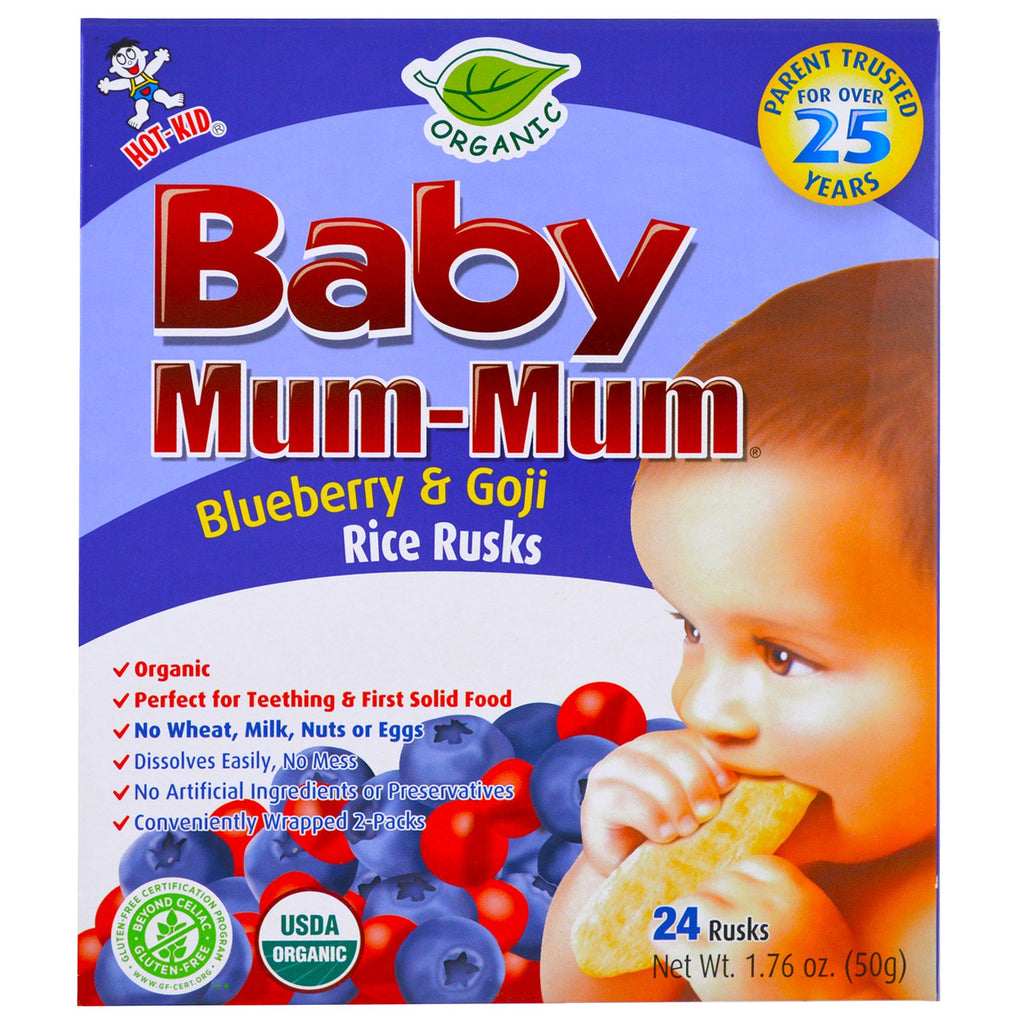 Hot Kid, Baby Mum-Mum, Organic Rice Rusk, Blueberry & Goji Rice Rusks, 24 Rusks, 17.6 oz (50 g) Each
