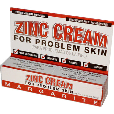 Margarite Cosmetics, Zinc Cream, For Problem Skin, 1 oz (28 g)