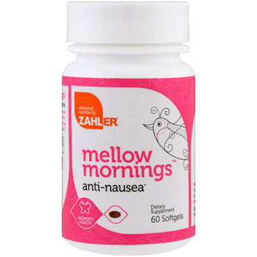 Zahler, Mellow Mornings, Anti-Nausea, 60 Softgels