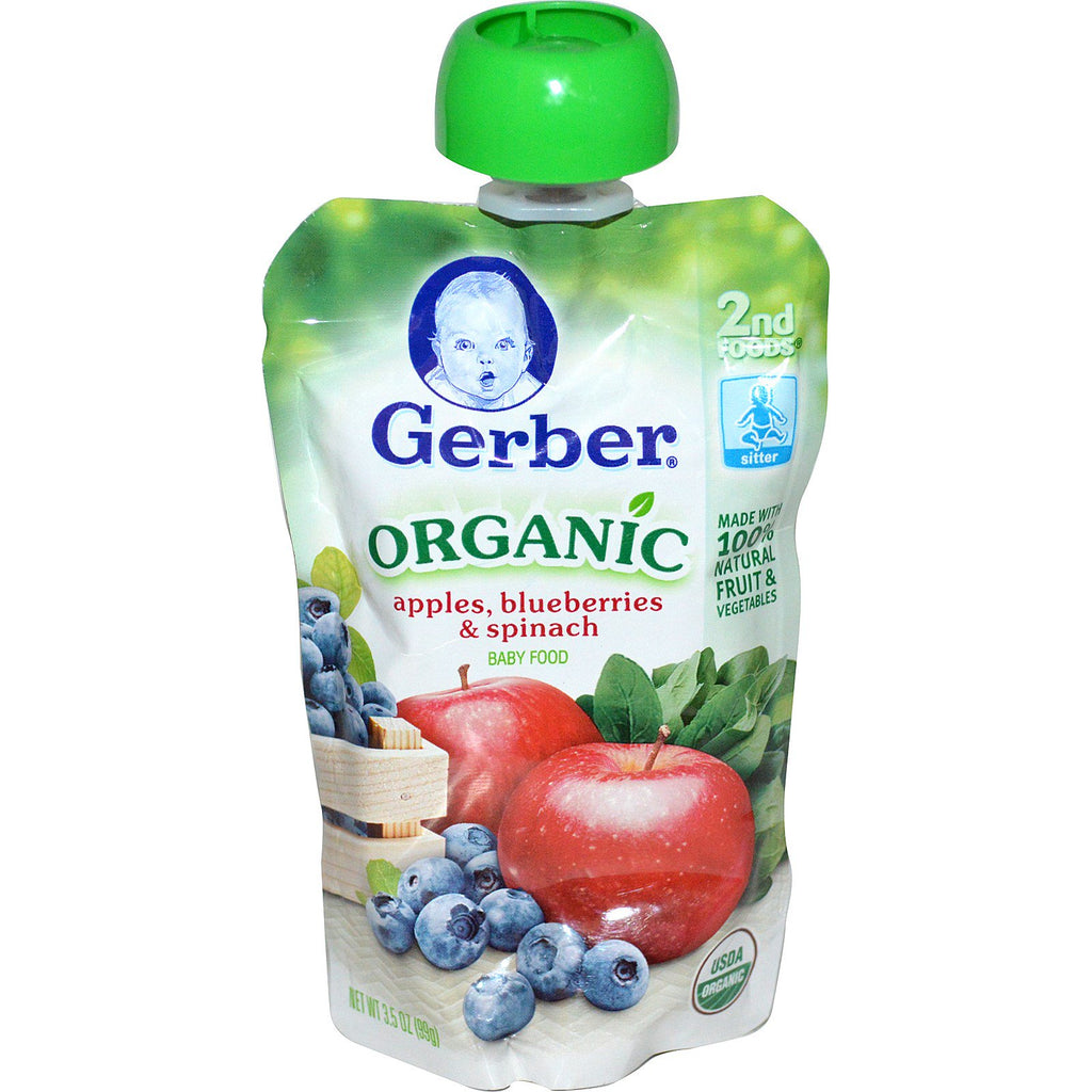 Gerber 2nd Foods Organic Baby Food Apples Blueberries & Spinach 3.5 oz (99 g)