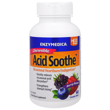 Enzymedica, Chewable Acid Soothe, Berry Flavor, 60 Chewable Tablets