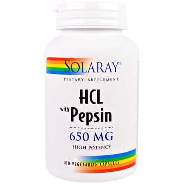 Solaray, HCL with Pepsin, 650 mg, 100 Vegetarian Capsules