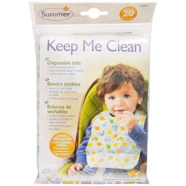 Summer Infant, Keep Me Clean, Disposable Bibs, 20 Bibs
