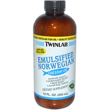Twinlab, Emulsified Norwegian Cod Liver Oil, Mint, 12 fl oz (355 ml)