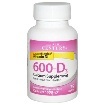 21st Century, 600+D3, Calcium Supplement, 75 Caplets