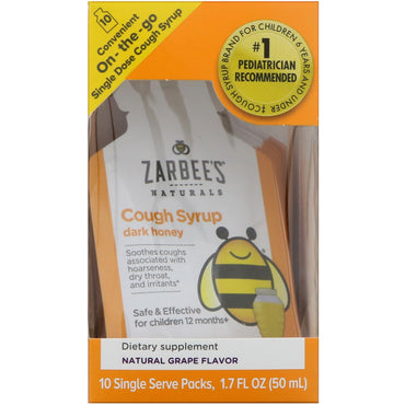 Zarbee's Children's Cough Syrup with Dark Honey On-the-Go Natural Grape Flavor 10 Single Serve Packs 0.2 fl oz (5 ml) Each