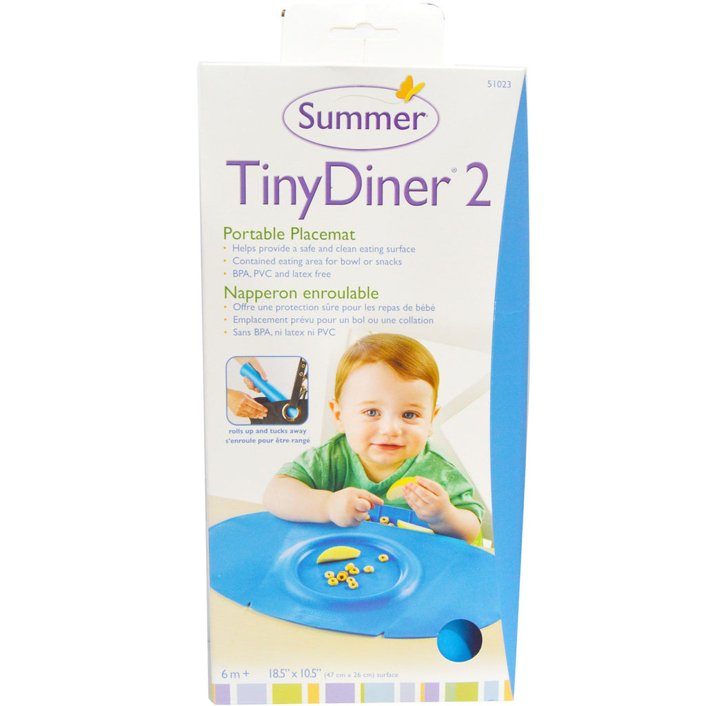 Summer Infant, Tiny Diner 2, Blue, Portable Placemat, 1 Placemat