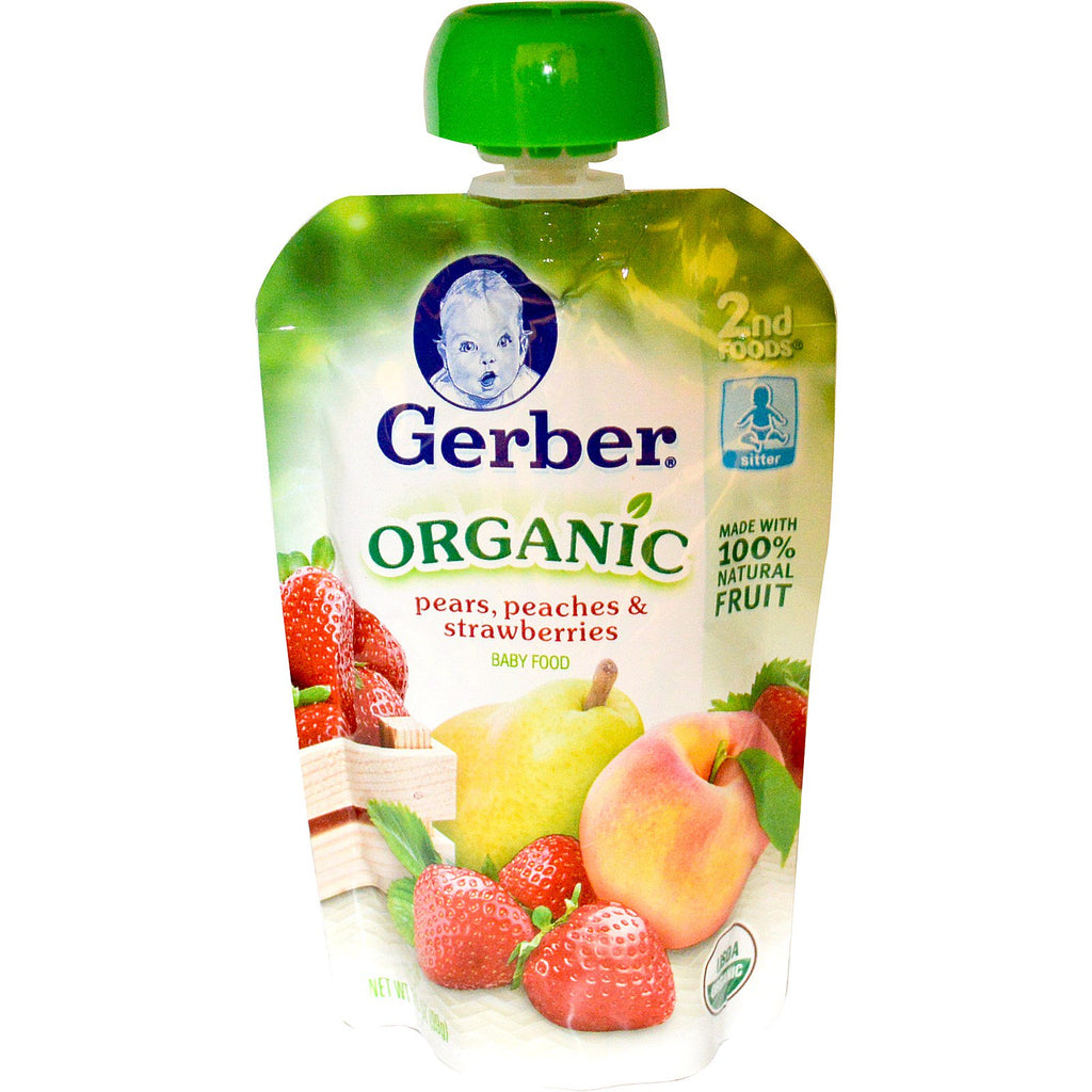 Gerber 2nd Foods Organic Baby Food Pears Peaches & Strawberries 3.5 oz (99 g)