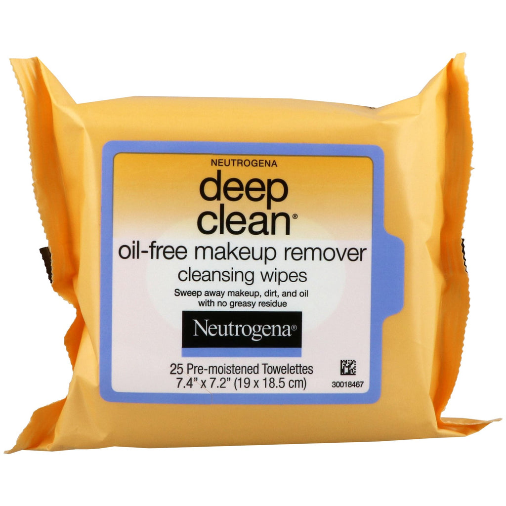 Neutrogena, Deep Clean, Oil-Free Makeup Remover Cleansing Wipes, 25 Towelettes