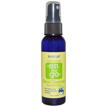 Madre Labs, Lemongrass, On The Go, Hand Cleanser, Alcohol-Free, With Aloe, 2 fl. oz. (60 mL)