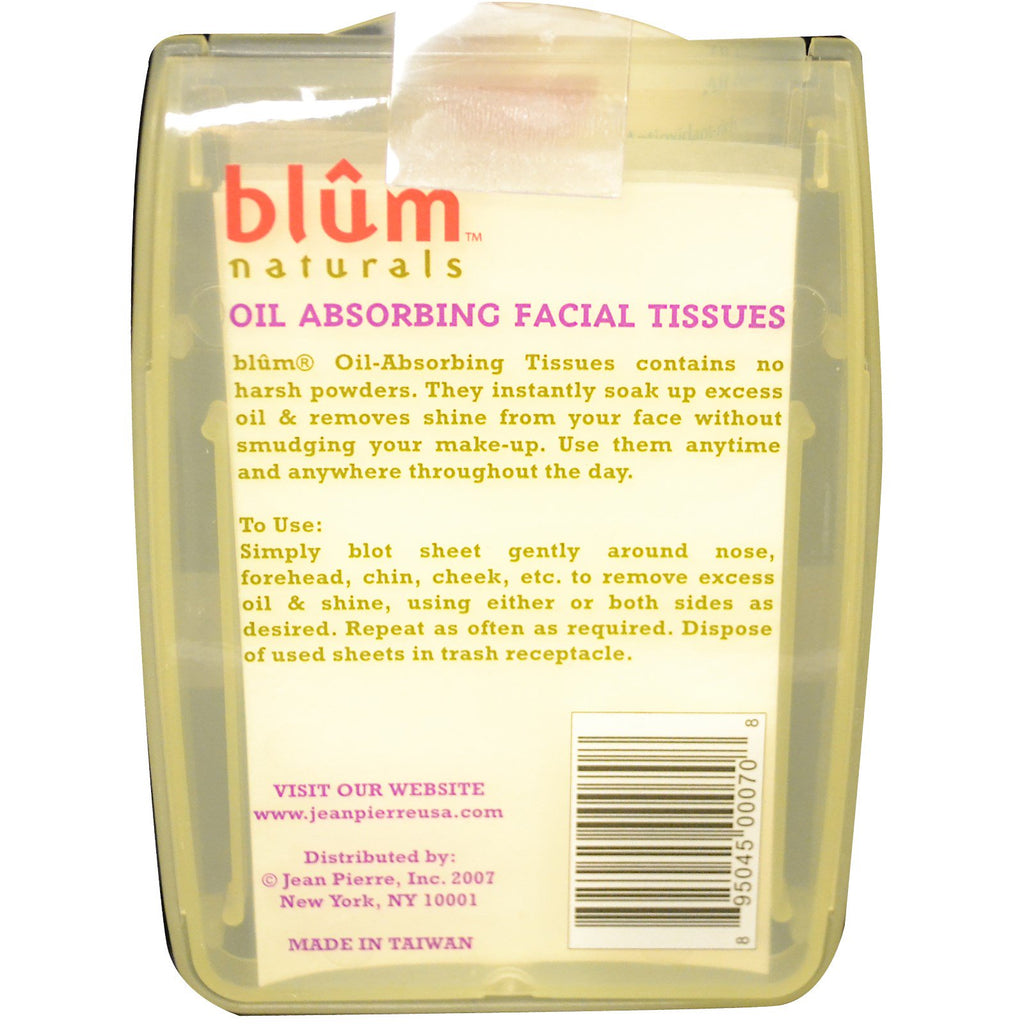 Blum Naturals, Oil Absorbing Facial Tissues, 50 Sheets