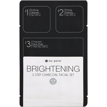 Nu-Pore, Brightening 3-Step Charcoal Facial Set, 1 Pack