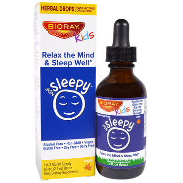 Bioray Inc., NDF Sleep, Relax The Mind & Sleep Well, Kids, Maple Flavor, 2 fl oz (60 ml)