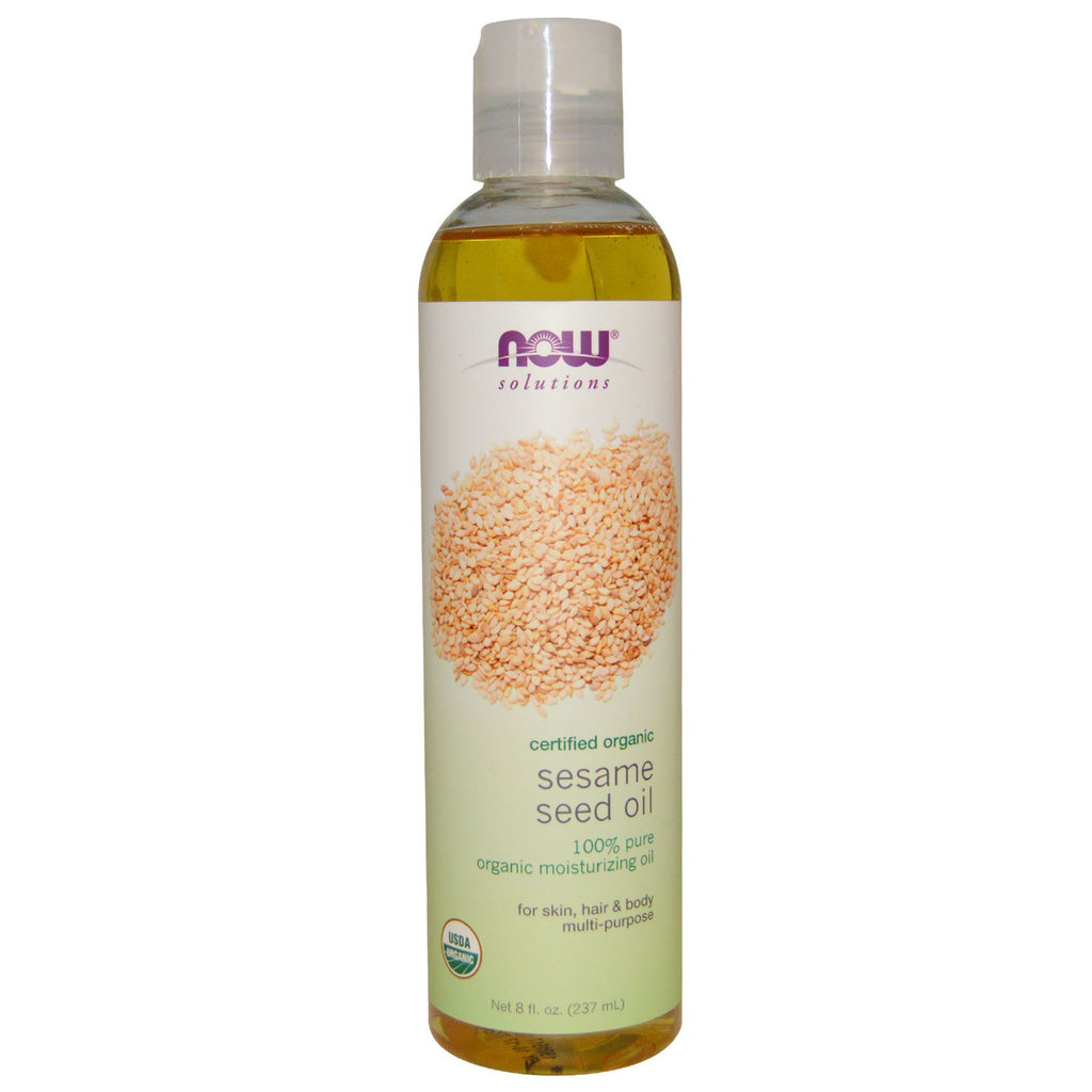 Now Foods, Solutions, Sesame Seed Oil, Certified Organic, 8 fl oz (237 ml)