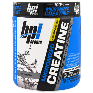 BPI Sports, Micronized Creatine, Limited Edition, Micronized 100% Pure Creatine, Unflavored, 10.58 oz (300 g)